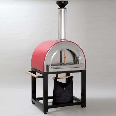 Pronto 300 20 in. x 24 in. Wood Burning Oven with Cart in Red