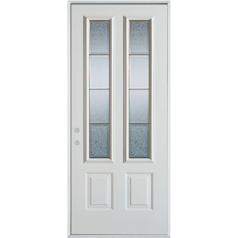 Stanley Doors 36 In X 80 In Geometric Glue Chip And Zinc 2 Lite 2 Panel Painted Right Hand Inswing Steel Prehung Front Door