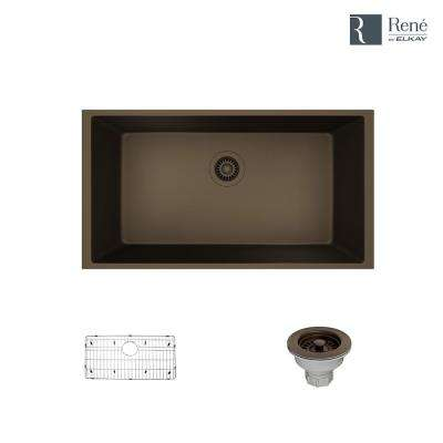 Undermount Composite Granite 32-5/8 in. Single Bowl Kitchen Sink in Umber