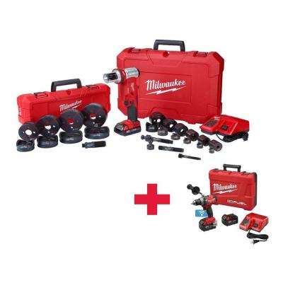 M18 1/2 in. to 4 in. 18-Volt Lithium-Ion Cordless Force Logic 6T Knockout Tool Kit with Free M18 ONE-KEY FUEL Drill Kit
