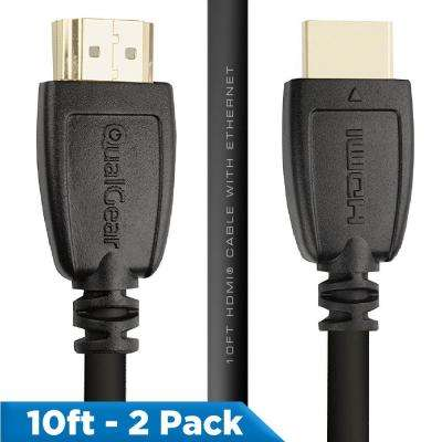 High Speed HDMI 2.0 Cable with Ethernet, 10 ft. (2-Pack)