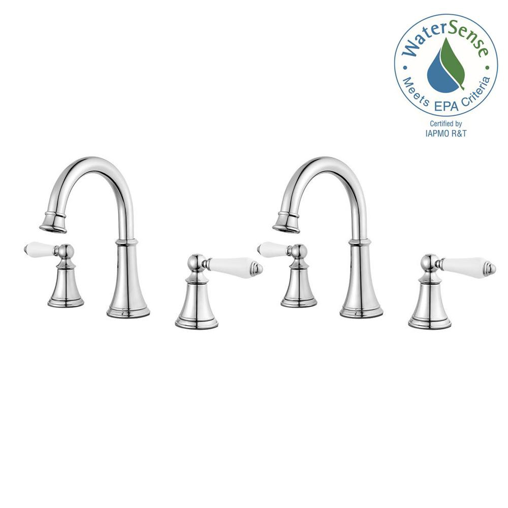 Pfister Courant 8 In. Widespread 2 Handle Bathroom Faucet In Polished  Chrome With White