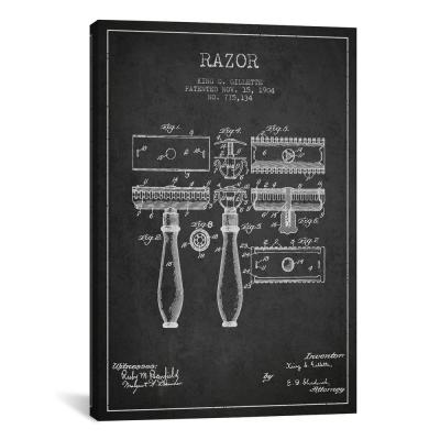 """""""Razor Charcoal Patent Blueprint"""" by Aged Pixel Canvas Wall Art"""