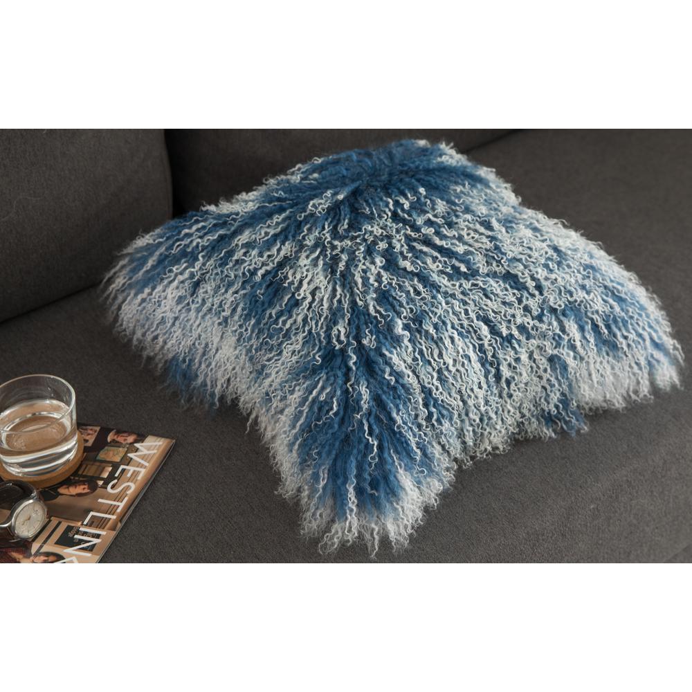 Deerlux Blue Genuine Mongolian Lamb Fur Sheepskin 16 in. x 16 in. Throw Pillow with Cushion