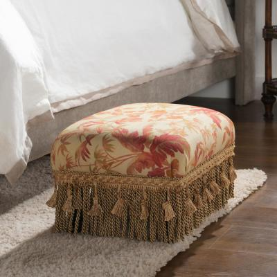 Fiona Traditional Decorative Footstool Ottoman, Floral Red/Gold