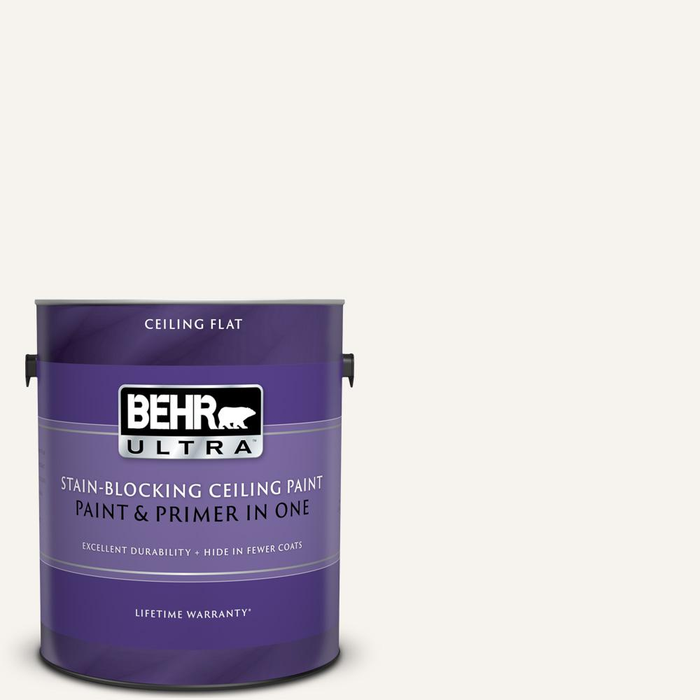BEHR ULTRA 1 Gal. Ultra Pure White Ceiling Flat Interior Paint and Primer in One