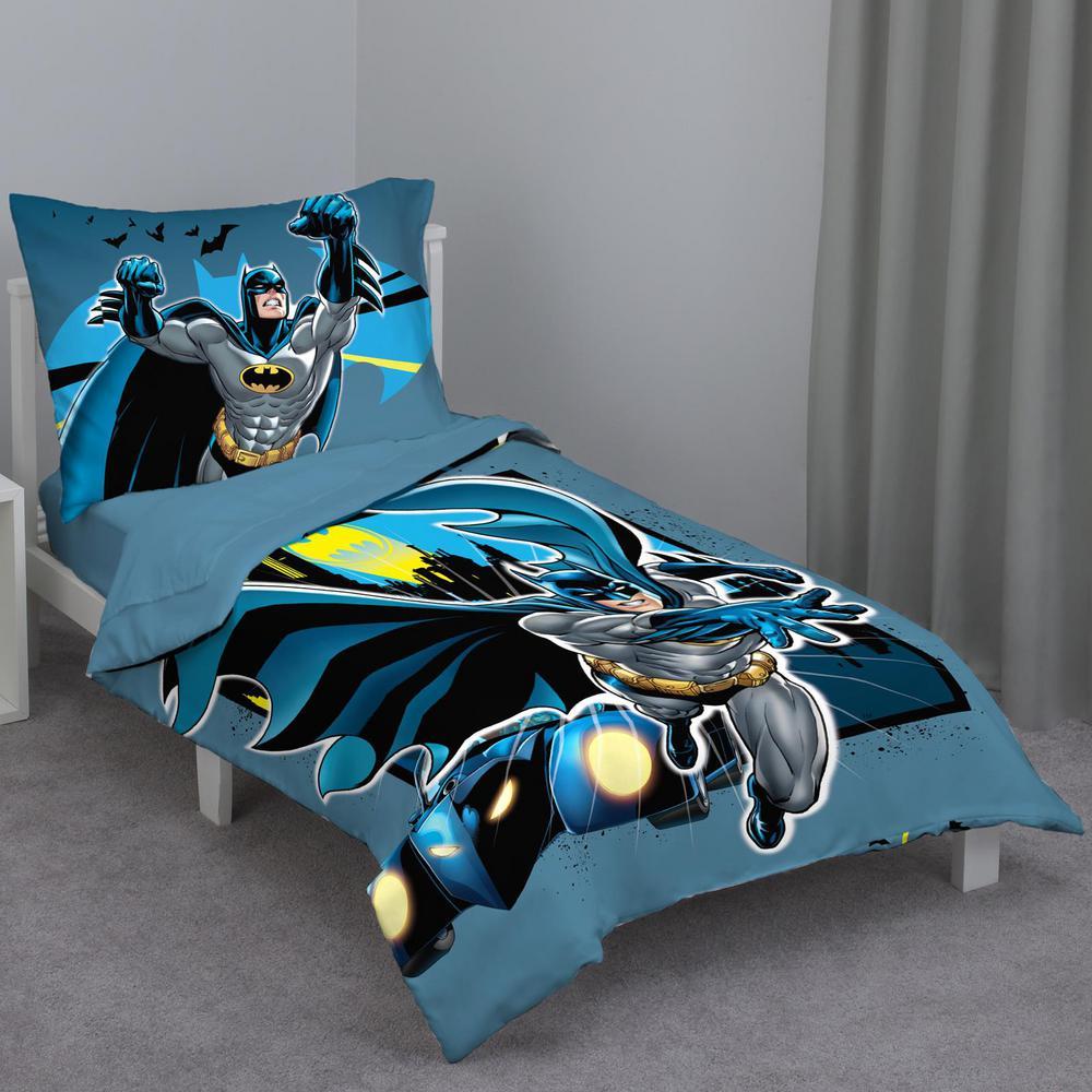 Batman Multicolor 4 Piece Toddler Bed Set Comforter Flat Top Sheet Fitted Bottom Sheet Reversible Pillowcase 4714416p The Home Depot