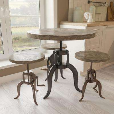 Naturally Distressed Cement Adjustable Pub/Bar Table