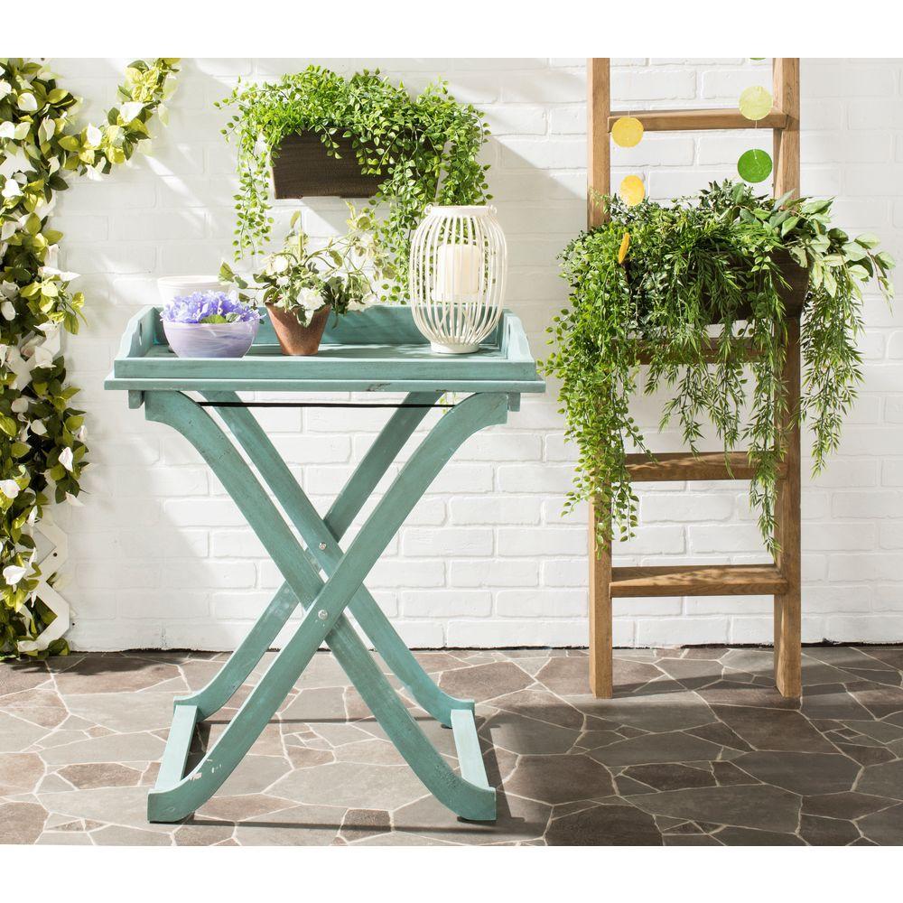 Covina Blue Wood Patio Tray Table