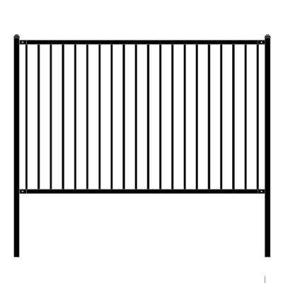 Lyon Style 5 ft. x 8 ft. Black Unassembled Steel Fence Panel