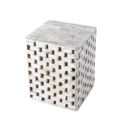 Maya Burning White Wood Garden Stool