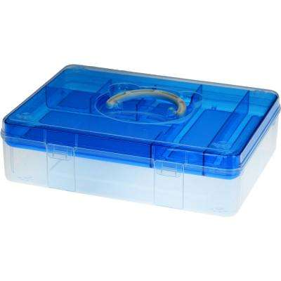 12.8 in. x 9.4 in. Fun Bear Portable Storage Box with Removable Top Organizer Tray in Blue (6-Pack)