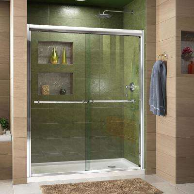 Duet 32 in. D x 60 in. W x 74.75 in. H Semi-Frameless Sliding Shower Door in Chrome with Right Drain Shower Base