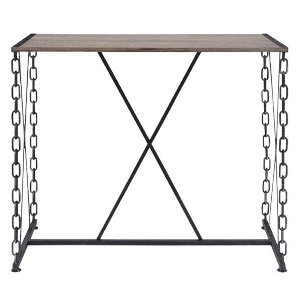Industrial Style 42 in. H Black and Brown Rectangular Wood and Metal Bar Table
