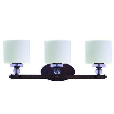 Mitchell Peak 3-Light Oil Rubbed Bronze Bathroom Vanity Light with Dove White Glass Shade