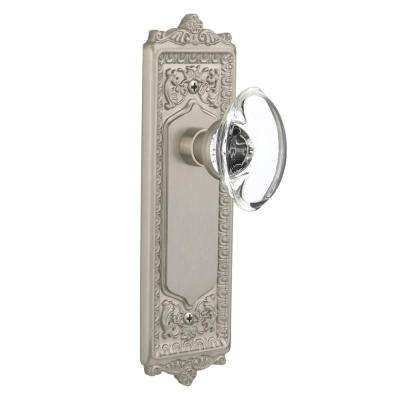 Egg and Dart Plate Single Dummy Oval Clear Crystal Glass Door Knob in Satin Nickel