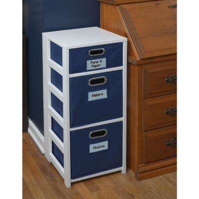 Flip Flop White and Blue 3-Shelf Folding Bookcase and Storage Tote Set