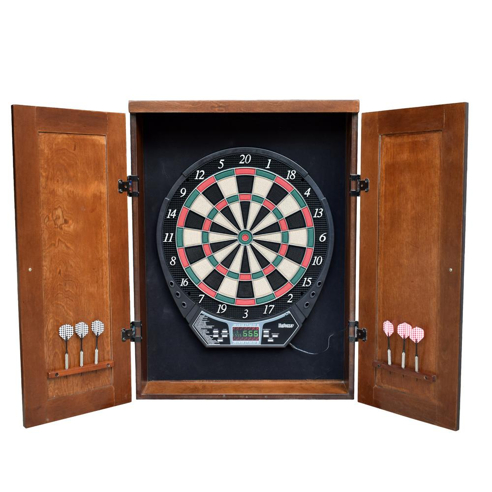 Hathaway Brookline Electronic Dartboard Cabinet Set In Walnut Finish