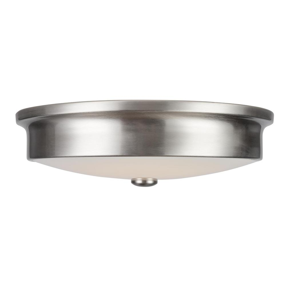 Home Decorators Collection Versailles 14 in. Brushed Nickel LED Flush Mount Ceiling Light with White Glass Shade