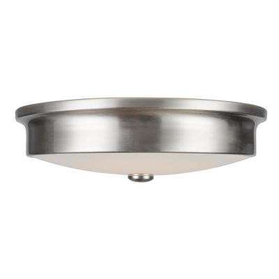 Versailles 14 in. Brushed Nickel LED Flush Mount Ceiling Light with White Glass Shade