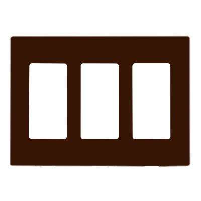 3-Gang Decora Plus Wallplate Screwless Snap-On Mount, Brown