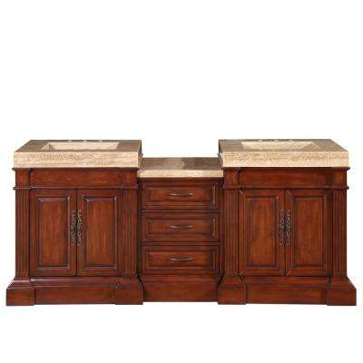 83 in. W x 24 in. D Vanity in Cherry with Stone Vanity Top in Travertine with Stone Ramp Basin