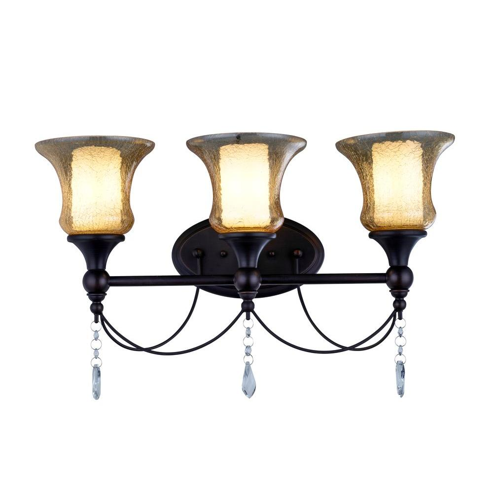 Vanity Light Glass Shades : World Imports Ethelyn Collection 3-Light Oil Rubbed Bronze Vanity Light with Old World Glass ...