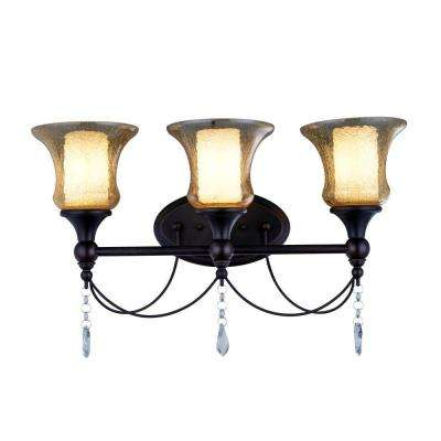 Ethelyn Collection 3-Light Oil Rubbed Bronze Vanity Light with Old World Glass Shades