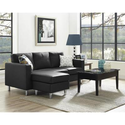 Small Spaces 2-Piece Configurable Black Sectional Sofa