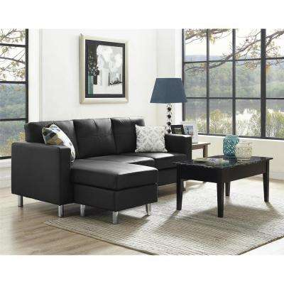 Small Spaces 2 Piece Configurable Black Sectional Sofa