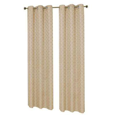 Semi-Opaque Natural Sonata Woven Lattice Jacquard 76 in. x 84 in. Grommet Polyester Curtain Panel Pair (2-Pack)