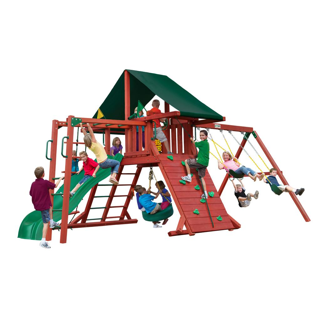 Gorilla Playsets Sun Climber II Wooden Playset with Sunbrella® Canvas Forest Green Canopy and Monkey Bars