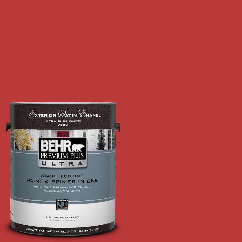 BEHR Premium Plus Ultra 1-Gal. #UL110-7 Edgy Red Satin Enamel Exterior Paint