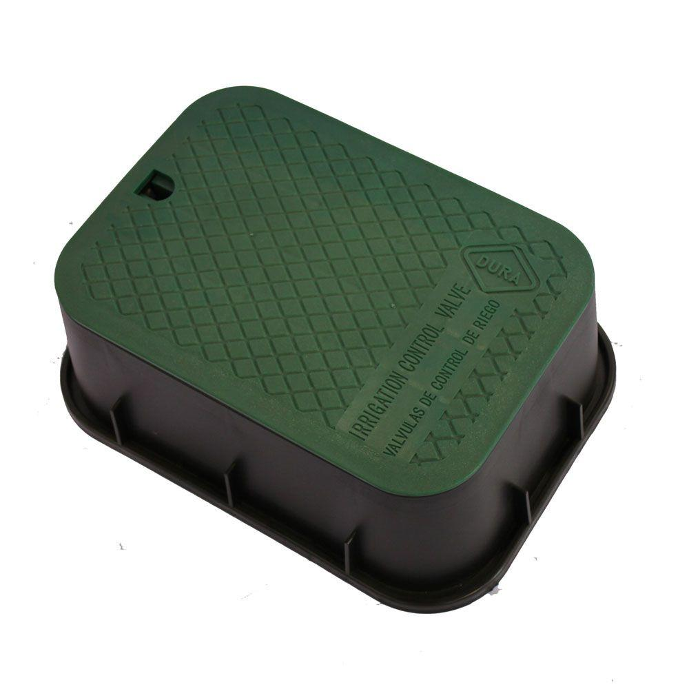 DURA 15 in. x 21 in. x 6 in. Deep Extension Valve Box in Black Body Green Lid