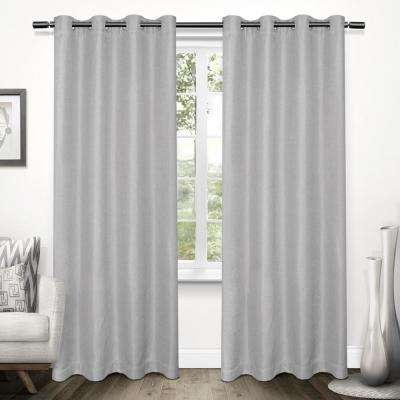 Tweed 52 in. W x 96 in. L Woven Blackout Grommet Top Curtain Panel in Dove Grey (2 Panels)