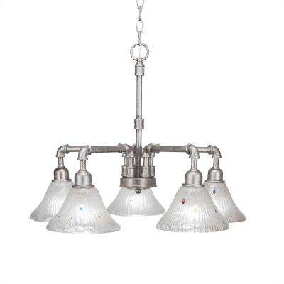 5-Light Aged Silver Chandelier with Frosted Ribbed Shade