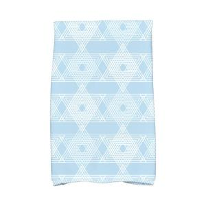 16 inch x 25 inch Light Blue Star Light Holiday Geometric Print Kitchen Towel by