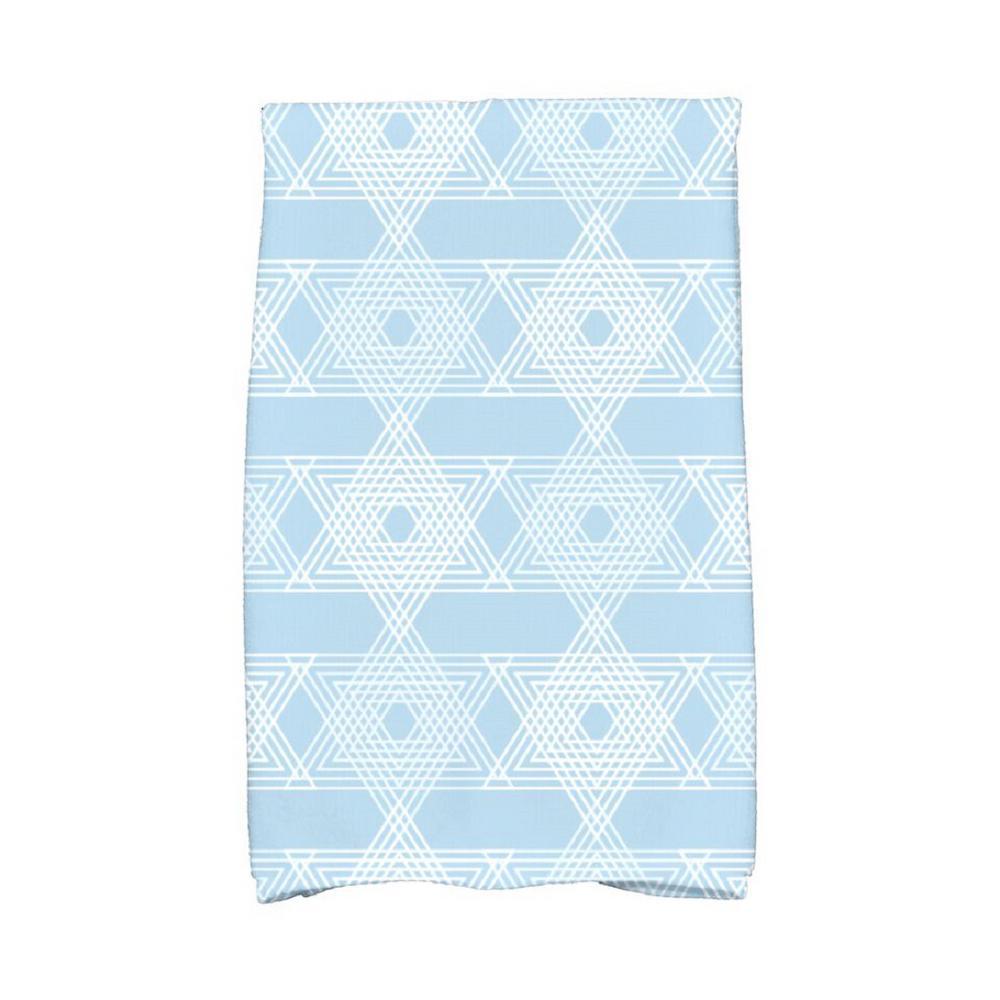 16 inch x 25 inch Light Blue Star Light Holiday Geometric Print Kitchen Towel by
