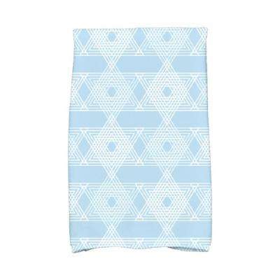 16 in. x 25 in. Light Blue Star Light Holiday Geometric Print Kitchen Towel