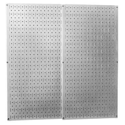 32 in. x 32 in. Overall Size Shiny Galvanized Steel Pegboard Pack with Two 32 in. x 16 in. Pegboards