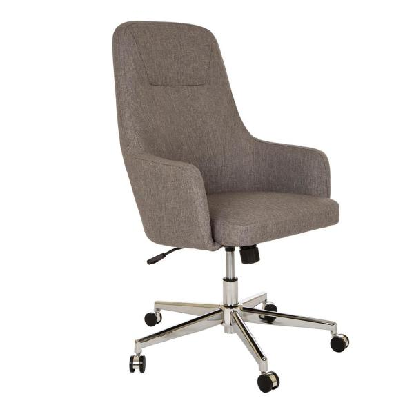 Glitzhome Mid Century Modern Gray Fabric Gaslift Adjustable Swivel Office Chair 1009202147 The Home Depot
