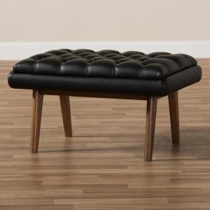 Outstanding Baxton Studio Annetha Black Tufted Stool 144 7934 Hd The Lamtechconsult Wood Chair Design Ideas Lamtechconsultcom