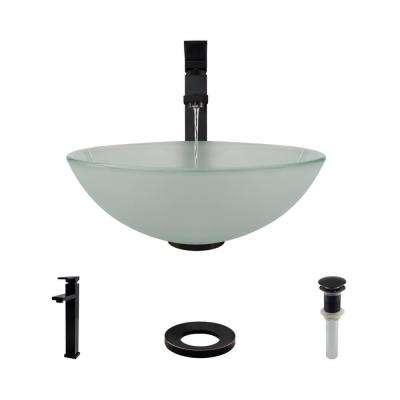 Glass Vessel Sink in Frosted with R9-7003 Faucet and Pop-Up Drain in Antique Bronze