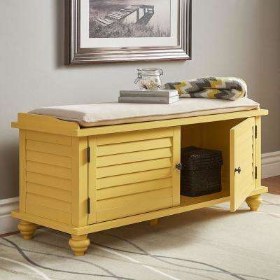 Banana Yellow Shoes Bench With Beige Velvet Cushion