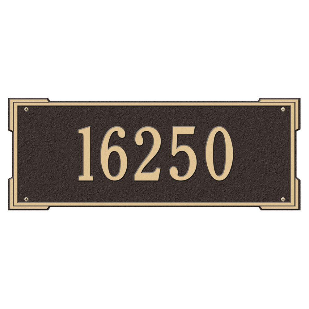 Whitehall Products Rectangular Roanoke Estate Wall 1-Line Address Plaque - Bronze/Gold