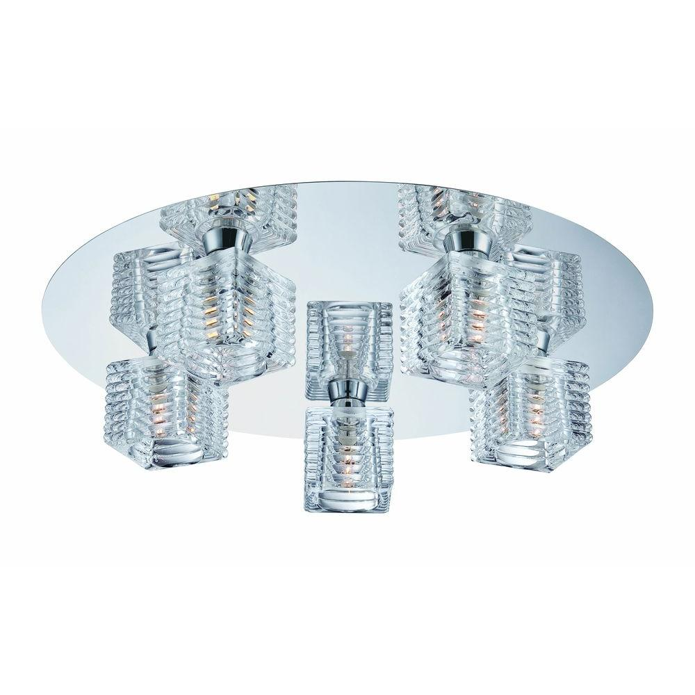 Hampton Bay Olivet 16 in. 5-Light Chrome Flushmount with Cube Glass ...