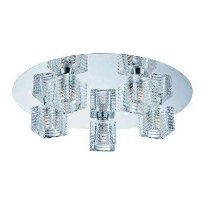 Olivet 16 in. 5-Light Chrome Flushmount with Cube Glass Shades