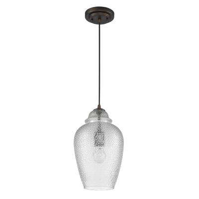 Brielle 1-Light Oil-Rubbed Bronze Pendant with Crackle Glass Shade
