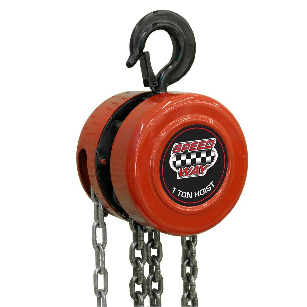 Speedway 1 ton manual chain hoist 7518 the home depot for 1 4 ton chain motor