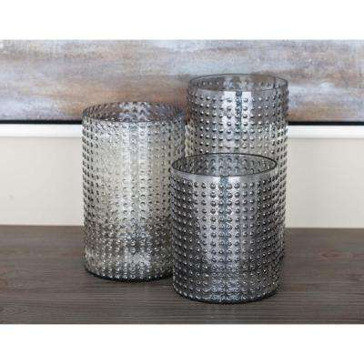 Dotted Clear Glass Candle Holders (Set of 3)